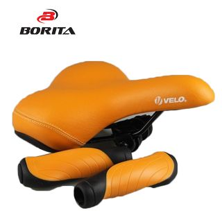 New version bike parts bicycle handle bar grip and orange saddle